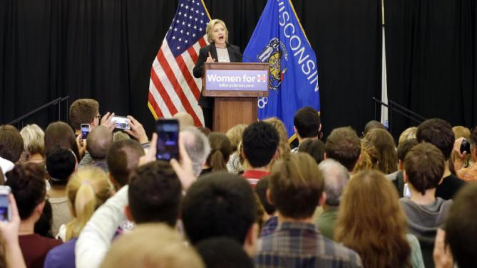 Democratic presidential candidate Hillary Rodham Clinton speaks at the University of Wisconsin-Milwaukee, Thursday, Sept. 10, 2015, in Milwaukee. (AP Photo/Morry Gash)