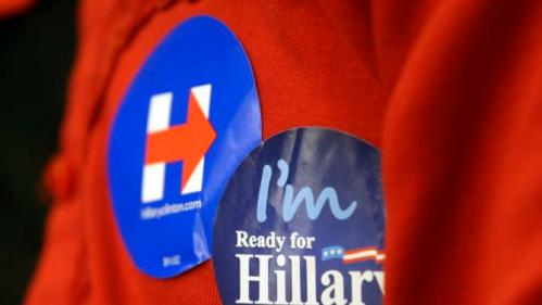 A supporter waits for Democratic presidential candidate Hillary Rodham Clinton to speak at the University of Wisconsin-Milwaukee, Thursday, Sept. 10, 2015, in Milwaukee. (AP Photo/Morry Gash)