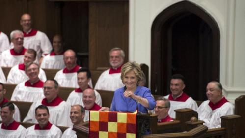Democratic presidential candidate Hillary Rodham Clinton speaks while attending the Foundry United Methodist Church for their Bicentennial Homecoming Celebration, in Washington, Sunday, Sept. 13, 2015. (AP Photo/Molly Riley)
