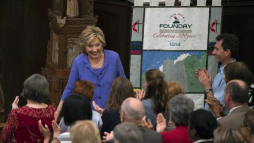 Democratic presidential candidate Hillary Rodham Clinton greets church attendees at the Foundry United Methodist Church, in Washington, Sunday, Sept. 13, 2015. During President Bill Clinton's presidency, the Clintons worshipped and participated regularly at Foundry. (AP Photo/Molly Riley)