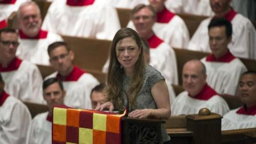 Chelsea Clinton, daughter of Democratic presidential candidate Hillary Rodham Clinton, speaks while attending the Foundry United Methodist Church for their Bicentennial Homecoming Celebration, in Washington, Sunday, Sept. 13, 2015. During President Bill Clinton's presidency, the Clintons worshipped and participated regularly at Foundry. (AP Photo/Molly Riley)