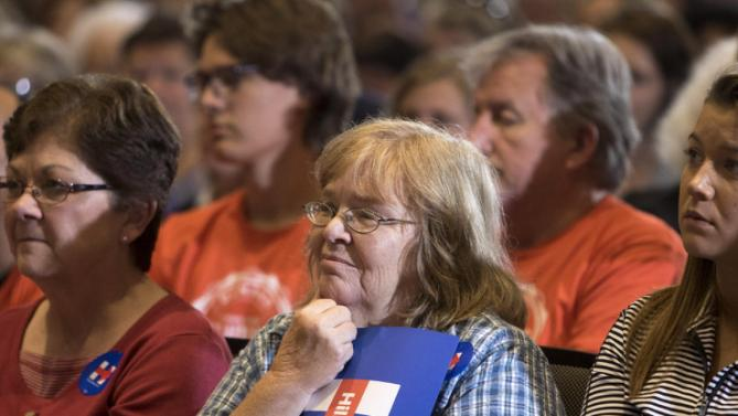 Supporters listen as Democratic presidential candidate Hillary Rodham Clinton speaks during an organizing event at the University of Northern Iowa, Monday, Sept. 14, 2015, in Cedar Falls, Iowa. (AP Photo/Scott Morgan)