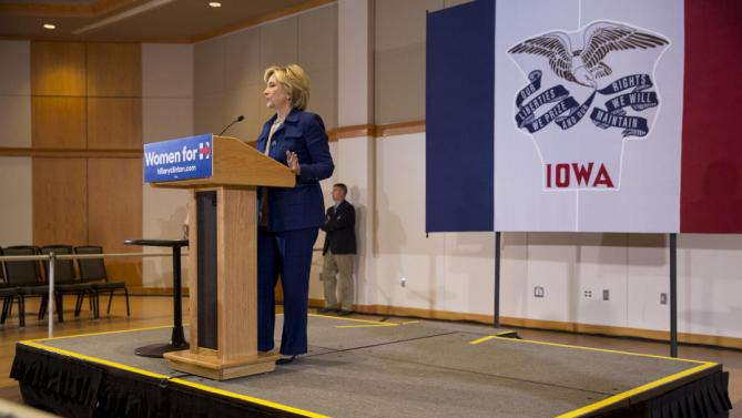 Democratic presidential candidate Hillary Rodham Clinton speaks to the media during an organizing event at the University of Northern Iowa, Monday, Sept. 14, 2015, in Cedar Falls, Iowa. (AP Photo/Scott Morgan)