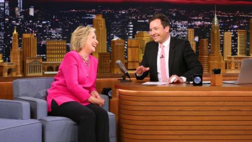 "In this image released by NBC, Hillary Rodham Clinton, left, appears with host Jimmy Fallon during a taping of ""The Tonight Show Starring Jimmy Fallon,"" on Wednesday, Sept. 16, 2015, in New York. (Douglas Gorenstein/NBC via AP)"