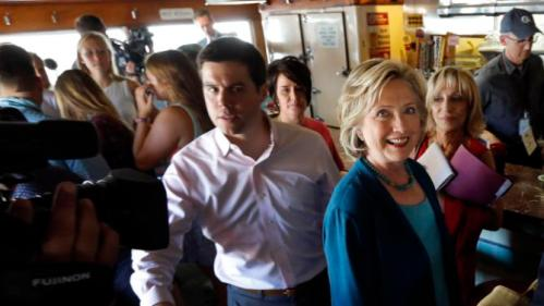 Democratic presidential candidate Hillary Rodham Clinton is seen during a campaign stop at the Union Diner Thursday, Sept. 17, 2015, in Laconia, N.H. (AP Photo/Jim Cole)