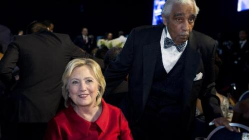 Democratic presidential candidate Hillary Rodham Clinton and Rep. Charles Rangel D-N.Y. attend the Congressional Black Caucus Foundation, 45th ALC Phoenix Awards Dinner at Washington Convention Center in Washington, Saturday, Sept. 19, 2015. (AP Photo/Jose Luis Magana)