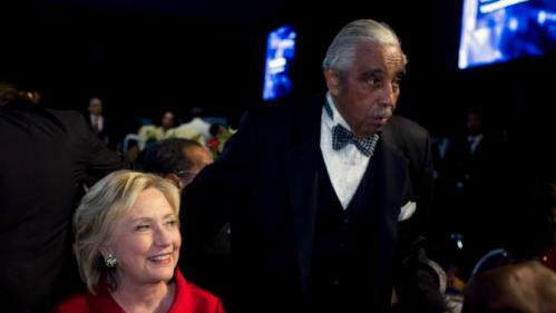 Democratic presidential candidate Hillary Rodham Clinton and Rep. Charles Rangel D-NY attend the Congressional Black Caucus Foundation's 45th Annual Legislative Conference Phoenix Awards Dinner at the Washington Convention Center in Washington on Saturday, Sept. 19, 2015. (AP Photo/Jose Luis Magana)