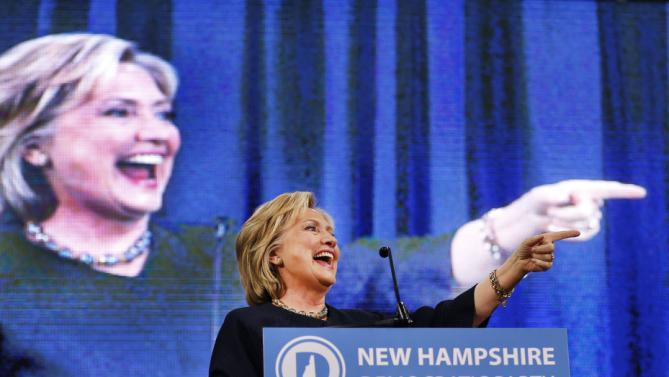 Democratic presidential candidate Hillary Rodham Clinton arrives to speak at the state's annual Democratic convention Saturday, Sept. 19, 2015, in Manchester, .N.H (AP Photo/Jim Cole)
