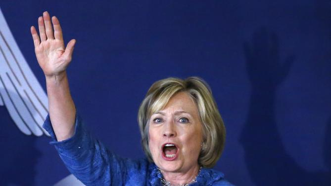 Democratic presidential candidate Hillary Rodham Clinton waves during a campaign stop in Baton Rouge, La., Monday, Sept. 21, 2015. (AP Photo/Jonathan Bachman)