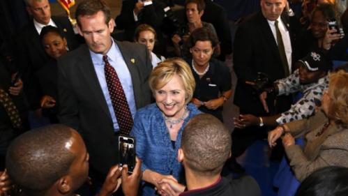 Democratic presidential candidate Hillary Rodham Clinton greets supporters during a campaign stop in Baton Rouge, La., Monday, Sept. 21, 2015. (AP Photo/Jonathan Bachman)