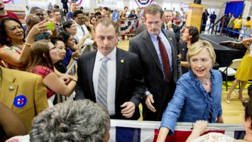 Democratic presidential candidate Hillary Rodham Clinton greets poeple at a grassroots organizing meeting at Philander Smith College Monday, Sept. 21, 2015, in Little Rock, Ark. (AP Photo/Gareth Patterson)