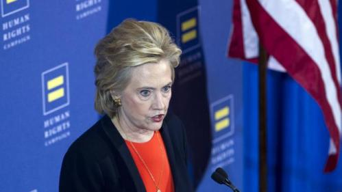 Democratic presidential candidate Hillary Rodham Clinton gestures as she speaks at Human Rights Campaign gathering in Washington, Saturday, Oct. 3, 2015. ( AP Photo/Jose Luis Magana)