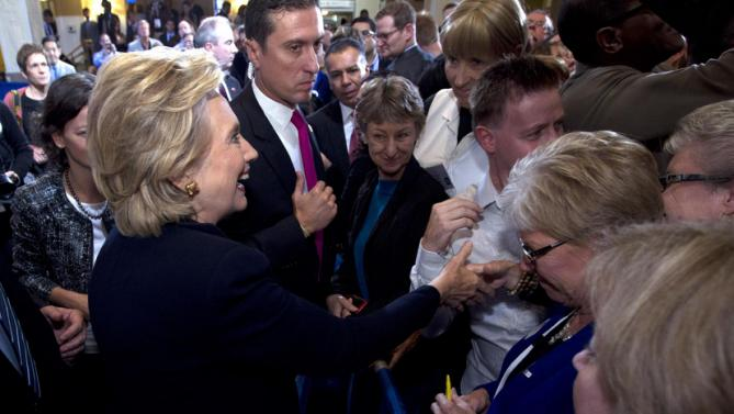 Democratic presidential candidate Hillary Rodham Clinton shakes hands with supporters after speaking to the Human Rights Campaign in Washington, Saturday, Oct. 3, 2015. ( AP Photo/Jose Luis Magana)