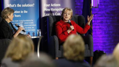 Democratic presidential candidate Hillary Rodham Clinton speaks at an Early Childhood Education Conference, Monday, Oct. 5, 2015, in Manchester, N.H. (AP Photo/Jim Cole)