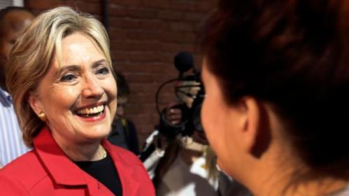 Democratic presidential candidate Hillary Rodham Clinton greets guests after speaking at an Early Childhood Education Conference, Monday, Oct. 5, 2015, in Manchester, N.H. (AP Photo/Jim Cole)