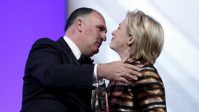 U.S. Democratic presidential candidate Hillary Clinton awards chef Jose Andres (L) with the 2015 Chair's Medallion Award at the Congressional Hispanic Caucus Institute's 38th annual Awards Gala in Washington October 8, 2015. REUTERS/Yuri Gripas
