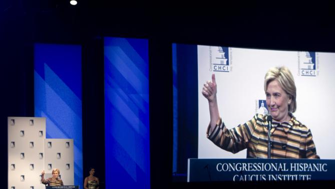 Democratic presidential candidate Hillary Rodham Clinton speaks at the Congressional Hispanic Caucus Institute's 38th Annual Awards Gala at the Washington Convention Center, on Thursday, Oct. 8, 2015, in Washington. ( AP Photo/Jose Luis Magana)