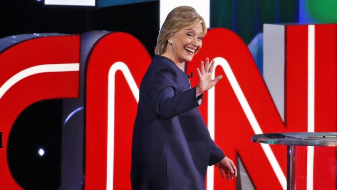 Democratic presidential candidate Hillary Rodham Clinton takes the stage before the CNN Democratic presidential debate Tuesday, Oct. 13, 2015, in Las Vegas. (AP Photo/John Locher)