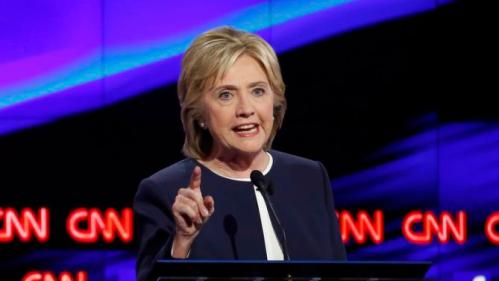 Democratic U.S. presidential candidate former Secretary of State Hillary Clinton speaks during the first official Democratic candidates debate of the 2016 presidential campaign in Las Vegas, Nevada October 13, 2015. REUTERS/Lucy Nicholson