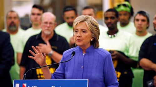 Democratic presidential candidate Hillary Rodham Clinton speaks at an International Union of Painters and Allied Trades training facility Wednesday, Oct. 14, 2015, in Henderson, Nev. The union announced it's support Wednesday for Clinton's presidential campaign. (AP Photo/John Locher)