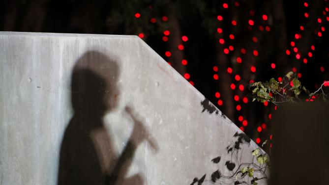 Democratic presidential candidate Hillary Rodham Clinton casts a shadow on a wall as she speaks at a rally Wednesday, Oct. 14, 2015, in Las Vegas. The stop was her last scheduled public event the day after the first Democratic debate. (AP Photo/John Locher)