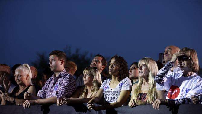 People listen to Democratic presidential candidate Hillary Rodham Clinton speak at a rally Wednesday, Oct. 14, 2015, in Las Vegas. The stop was her last scheduled public event the day after the first Democratic debate. (AP Photo/John Locher)