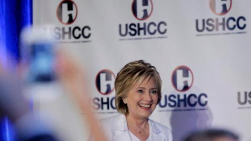 Democratic presidential candidate Hillary Rodham Clinton arrives to speak to the United States Hispanic Chamber of Commerce, Thursday, Oct. 15, 2015, in San Antonio. (AP Photo/Eric Gay)