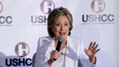 Democratic presidential candidate Hillary Rodham Clinton speaks to the United States Hispanic Chamber of Commerce, Thursday, Oct. 15, 2015, in San Antonio. (AP Photo/Eric Gay)
