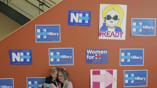 Eight-year-old James deFilippi and his mother Melissa pose for a selfie at as campaign stop with U.S. Democratic presidential candidate Hillary Clinton in Nashua, New Hampshire October 16, 2015. REUTERS/Brian Snyder