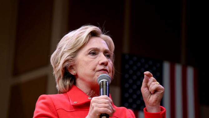 Democratic presidential candidate Hillary Rodham Clinton speaks during a town hall meeting Friday, Oct. 16, 2015, in Keene, N.H. (AP Photo/Mary Schwalm)