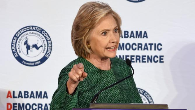 Democratic presidential candidate Hillary Rodham Clinton speaks during a meeting of the Alabama Democratic Conference in Hoover, Ala., Saturday, Oct. 17, 2015. (AP Photo/ Mark Almond)