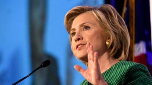Democratic presidential candidate Hillary Rodham Clinton speaks during a meeting of the Alabama Democratic Conference in Hoover, Ala., Saturday, Oct. 17, 2015. Clinton tells black Alabama Democrats that she'd champion voting rights in the White House. She says Republicans are dismantling the progress of the civil rights movement. (AP Photo/ Mark Almond)