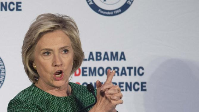 Democratic presidential candidate Hillary Rodham Clinton speaks during the Alabama Semi-Annual Democratic Conference on Saturday, Oct. 17, 2015, at the Hyatt Regency Wynfrey Hotel in Hoover, Ala. (Albert Cesare /The Montgomery Advertiser via AP) NO SALES; MANDATORY CREDIT