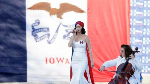 Singer Katy Perry performs during a rally for Democratic presidential candidate Hillary Rodham Clinton before the Iowa Democratic Party's Jefferson-Jackson Dinner, Saturday, Oct. 24, 2015, in Des Moines, Iowa. (AP Photo/Charlie Neibergall)