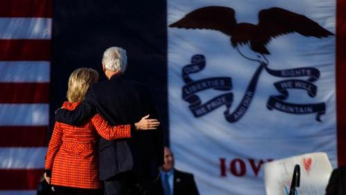 Democratic presidential candidate Hillary Clinton and former president Bill Clinton walk off the stage during a rally before the Iowa Democratic party's Jefferson-Jackson fundraising dinner Saturday, Oct. 24, 2015, in Des Moines, Iowa. (Brian Powers/The Des Moines Register via AP) MAGS OUT, TV OUT, NO SALES, MANDATORY CREDIT