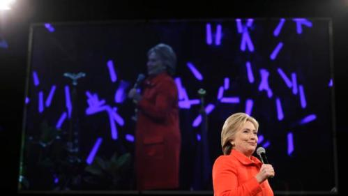 Democratic presidential candidate Hillary Rodham Clinton speaks during the Iowa Democratic Party's Jefferson-Jackson Dinner, Saturday, Oct. 24, 2015, in Des Moines, Iowa. (AP Photo/Charlie Neibergall)