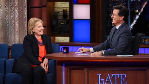 """In this image released by CBS, Democratic Presidential candidate Hillary Clinton, left, appears with host Stephen Colbert during a taping of """"The Late Show with Stephen Colbert,"""" Tuesday Oct. 27, 2015, in New York. (Jeffrey R. Staab/CBS via AP)"""