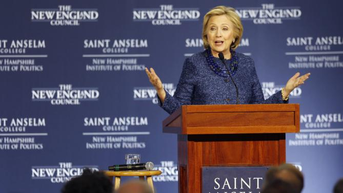 Democratic presidential candidate Hillary Rodham Clinton speaks during a campaign stop at the New Hampshire Institute of Politics at Saint Anselm College, Wednesday, Oct. 28, 2015, in Manchester,NH (AP Photo/Jim Cole)