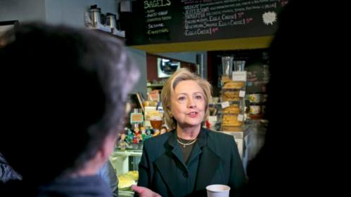 Democratic presidential candidate Hillary Rodham Clinton speaks to customers at the White Mountain Cafe & Bookstore, Thursday, Oct. 29, 2015, in Gorham, N.H. (AP Photo/Robert F. Bukaty)