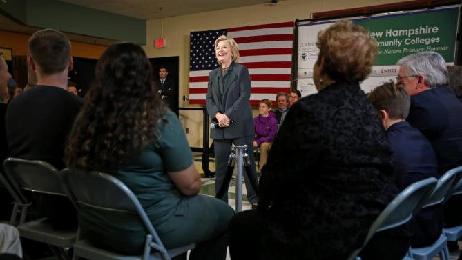 Democratic presidential candidate Hillary Rodham Clinton speaks at town hall meeting at White Mountain Community College, Thursday, Oct. 29, 2015, in Berlin, N.H. (AP Photo/Robert F. Bukaty)