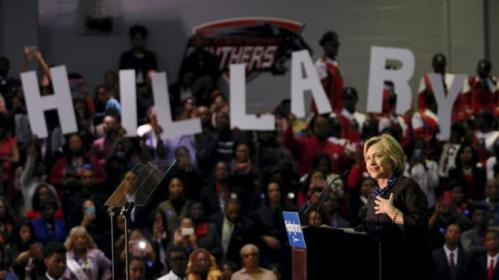 "U.S. Democratic presidential candidate Hillary Clinton speaks at ""African Americans for Hillary"" rally at Clark Atlanta University in Atlanta, Georgia October 30 2015. REUTERS/Tami Chappell"