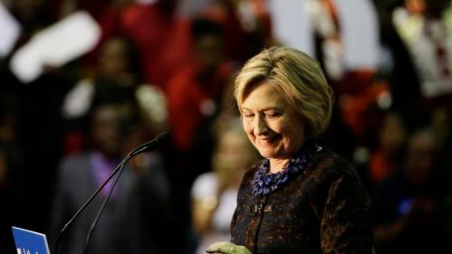 Democratic presidential candidate Hillary Rodham Clinton steps away from the podium as she concludes her speech during a campaign event at Clark Atlanta University Friday, Oct. 30, 2015, in Atlanta. (AP Photo/David Goldman)
