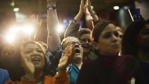 Supporters cheer for Democratic presidential candidate Hillary Rodham Clinton as she speaks during a campaign event at Clark Atlanta University Friday, Oct. 30, 2015, in Atlanta. (AP Photo/David Goldman)
