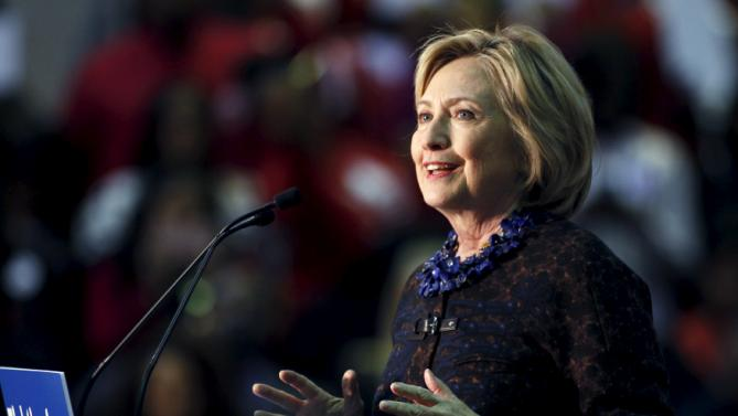"""U.S. Democratic presidential candidate Hillary Clinton speaks at """"African Americans for Hillary"""" rally at Clark Atlanta University in Atlanta, Georgia October 30, 2015.   REUTERS/Tami Chappell"""