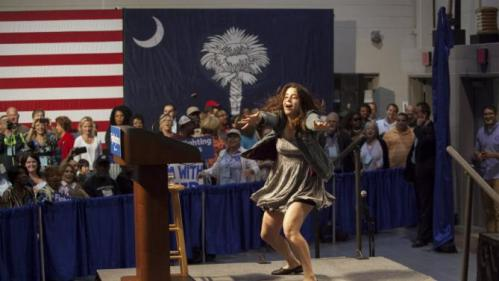 Charleston field organizer Sydney Watnick leads the crowd in chants before a speech by U.S. Democratic presidential candidate Hillary Clinton to members of The International Longshoremen's Association in Charleston, South Carolina, October 31, 2015.  REUTERS/Randall Hill