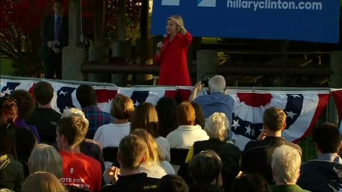U.S. Democratic presidential candidate Hillary Clinton says she would like to raise the federal minimum wage to $12 per hour from the current $7.25. Rough Cut (no reporter narration)