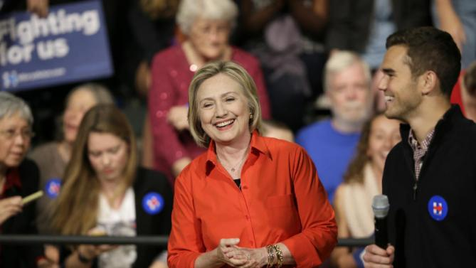 Democratic presidential candidate Hillary Rodham Clinton is introduced to speak at a town hall meeting at Grinnell College Tuesday, Nov. 3, 2015, in Grinnell, Iowa. (AP Photo/Charlie Neibergall)