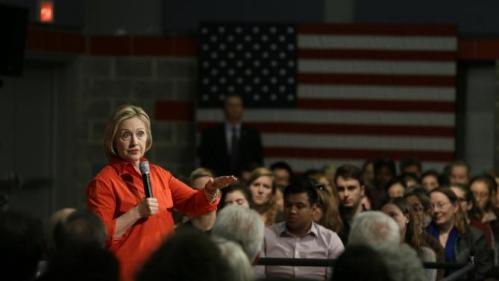 Democratic presidential candidate Hillary Rodham Clinton speaks during a town hall meeting at Grinnell College Tuesday, Nov. 3, 2015, in Grinnell, Iowa. (AP Photo/Charlie Neibergall)