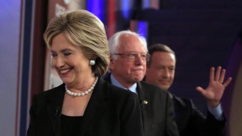 Democratic presidential candidates Hillary Rodham Clinton, Bernie Sanders and Martin O'Malley take the stage during a Democratic presidential primary debate, Saturday, Nov. 14, 2015, in Des Moines, Iowa. (AP Photo/Nati Harnik)