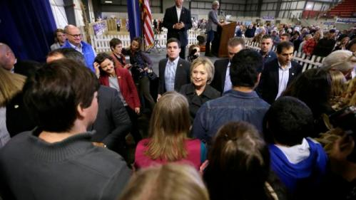 Democratic presidential candidate Hillary Rodham Clinton greets supporters at the Central Iowa Democrats Fall Barbecue Sunday, Nov. 15, 2015, in Ames, Iowa. (AP Photo/Charlie Neibergall)